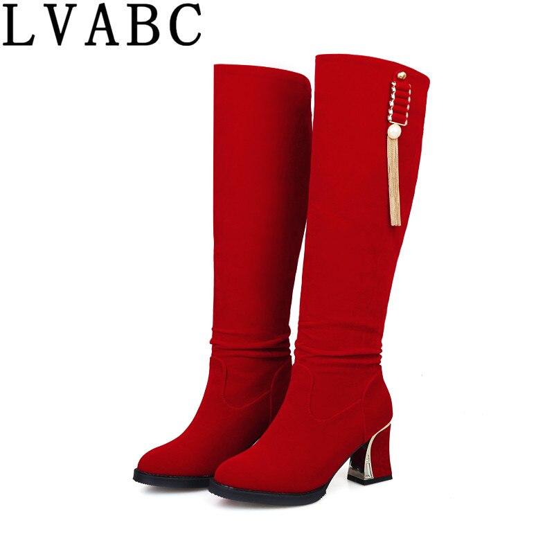 34 L'hiver La Noir Partie Bottes Mode Femme 2018 43 Rouge red Taille Chaussures Bleu Femmes Talons blue Black De Haute Plus 61xx5wqt