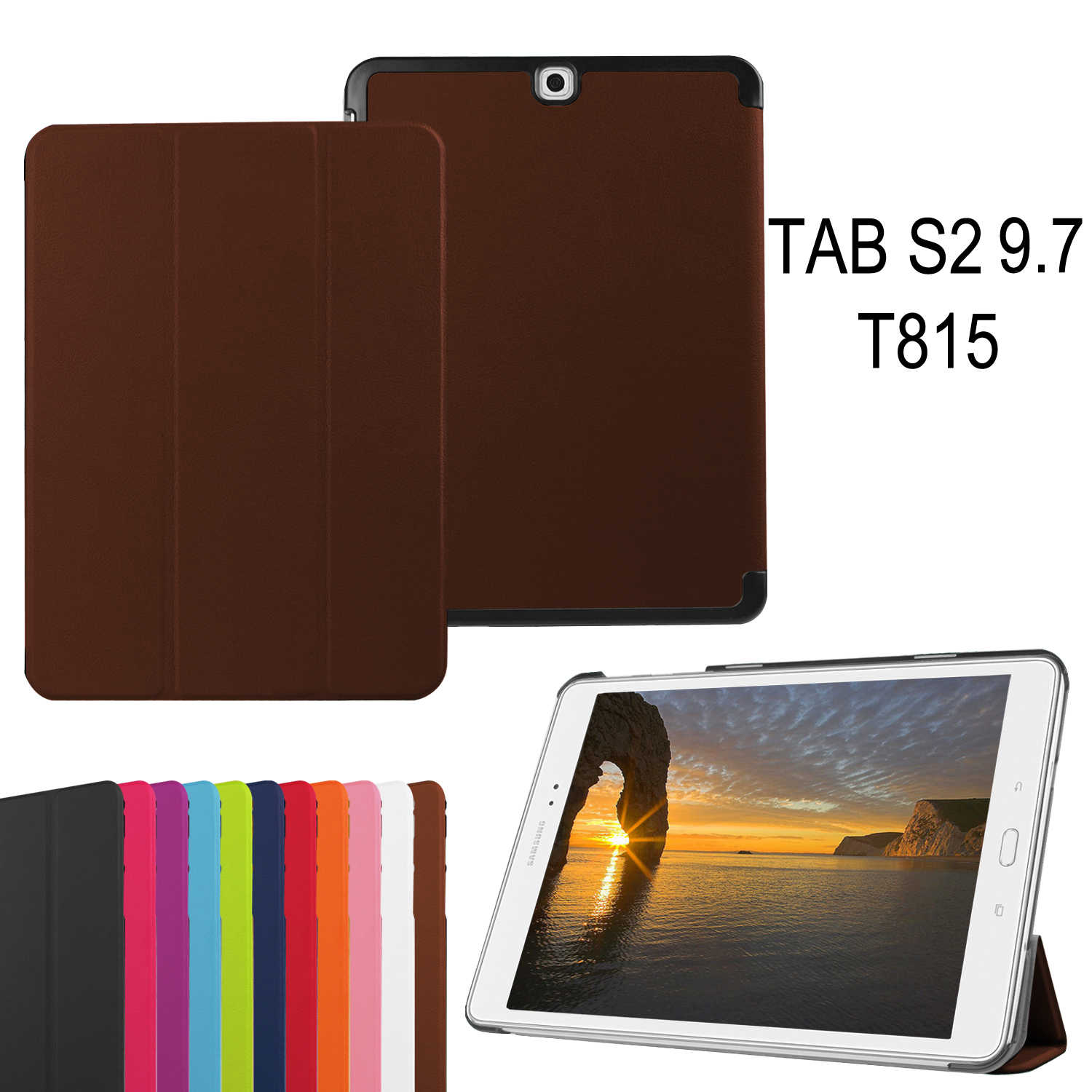 "Ultra Slim Folding Magneet Case Voor Samsung Galaxy Tab S2 9.7 T810 T815 Case Cover PU Leather Stand 9.7"" case + Film + Stylus Pen"