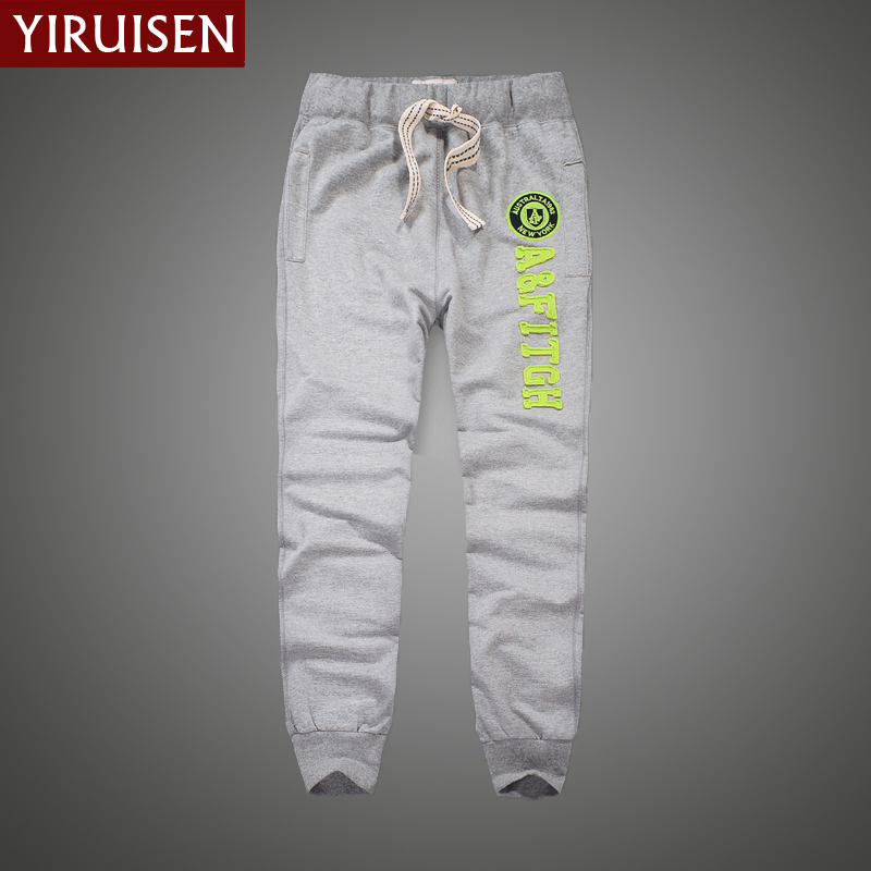 2017YiRuiSen Brand 100% Cotton Lightweight Sweatpants For Men Patchwork Casual Long Sweat Pants