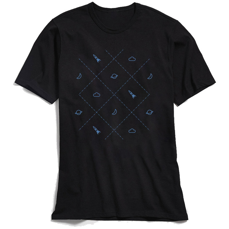 Men Tshirt Simple Space Street T shirts for Adult Cotton Summer Autumn T Shirt Black Tops Short Sleeve Family Crewneck Tees in T Shirts from Men 39 s Clothing