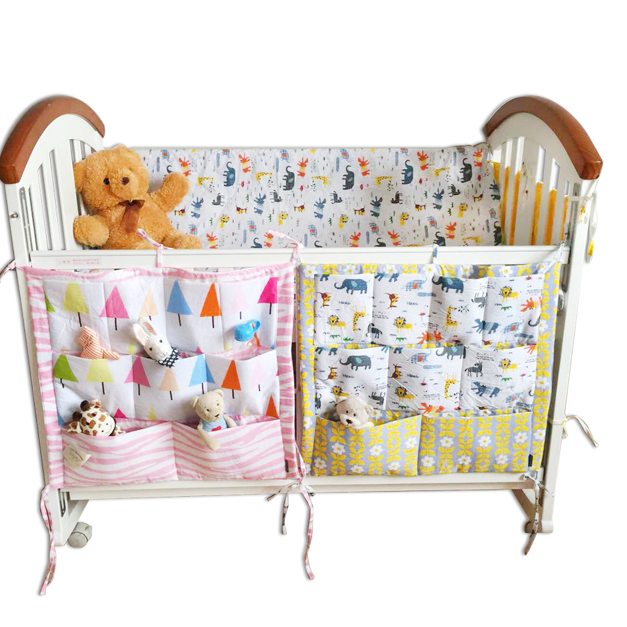 Crib bumper for sale philippines - Muslin Bear Promotion Baby Cot Bed Hanging Storage Bag 100 Cotton Crib Organizer 60