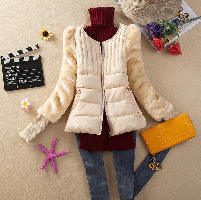 цены Free Shipping 2013 Winter Fashion Faux Fur Sleeve Patchwork Down Cotton Padded Jacket Short Ladies Wadded Jacket S-Xl D2029 в интернет-магазинах