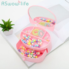 Children's Drawer Double Jewelry Storage Box Cartoon Dressing Table Makeup Mirror Color Cute Storage Box wooden dressing table makeup desk with stool oval rotation mirror 5 drawers white bedroom furniture dropshipping
