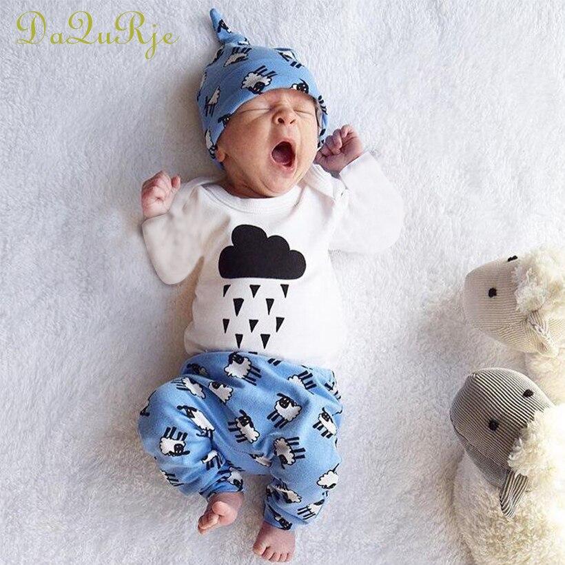 Nouveau-né 3 pcs Automne Bébé Fille/Garçon Vêtements Nuages Raindrop Plein Barboteuses + Mignon Moutons Pantalon + Chapeau Costumes bébé Roupa Infantil Vêtements