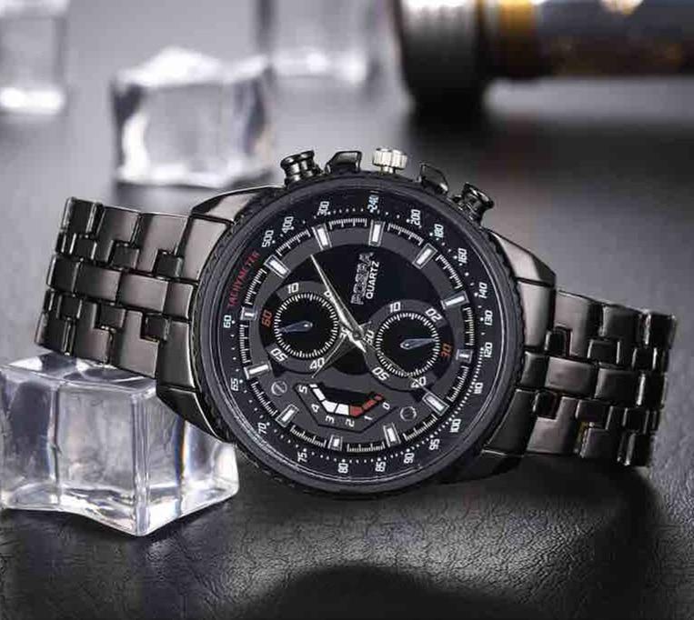Watches Quartz Steel-Band Black Men Sports Rosra Relogio Masculino Montres Horloge Homme