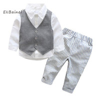 E Bainel 2017 New Baby Boys Gentleman Suits Infant Newborns Clothes Sets Kids Vest Shirt Striped