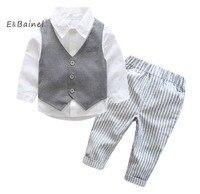E Bainel 2017 New Baby Boys Gentleman Suits Infant Newborns Clothes Sets Kids Vest Shirt Striped