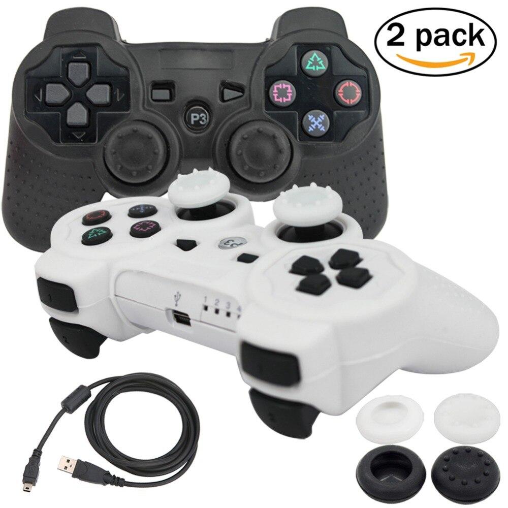 blueloong 2stk sort / hvid farve trådløs bluetooth joystick gamepad til Playstation 3 PS3 controller + gratis forsendelse