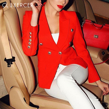 HIGH QUALITY Blazer feminino 2017 Designer Jacket Womens Long Sleeve Double Breasted Gold Buttons
