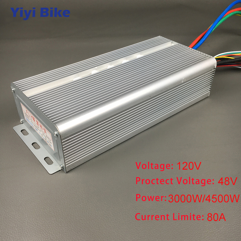 120V 3000W 4500W Brushless Motor Speed Controller 80A 36Mosfet 120Degree Phase With Sensor Hall For Electric