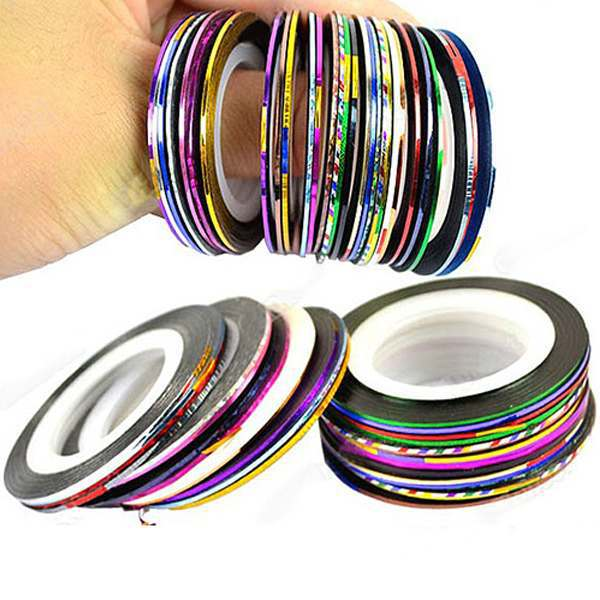 Aliexpress.com   Buy 10pcs  Lot 10 Mix Color Metallic French Nail Rolls  Striping Tape Line Metal Art Decoration Stickers For Nails Free Shipping  from ... 08f78a102833