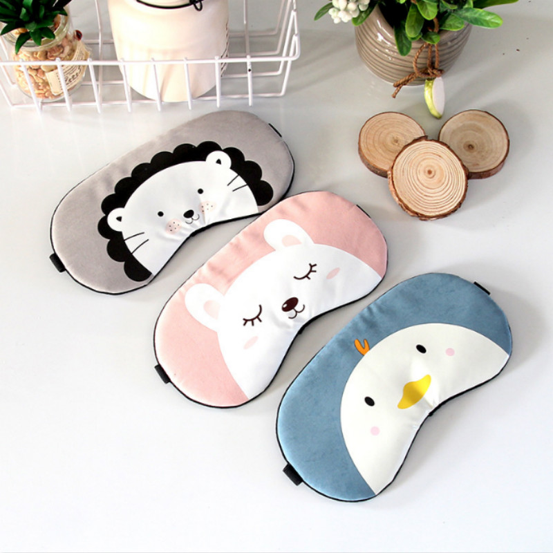 1pcs Cute Cartoon Animal Sleep Eye Mask Comfortable Travel Massage Relax Eye Sleeping Aid Blindfold Cover