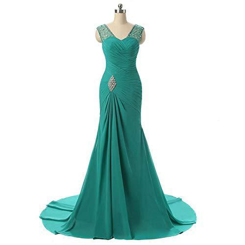 Mermaid Chiffon Green Evening Dresses Long 2019 Actural Abiye Gece Elbisesi Vestido De Festa Longo Formal