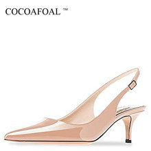 COCOAFOAL Summer Women's Sandals Woman High Heels Shoes Sexy Low Heel Shoes Summer Women's Sandals Black Red Green Wedding Pumps(China)