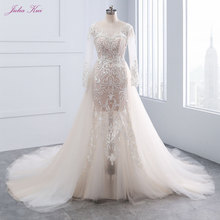 JULIA KUI Full Sleeves 1 Mermaid Wedding Dress Train