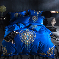 39Luxury Blue Egyptian Cotton Oriental Modern Bedding set Queen King size Embroidery Decorative bed duvet cover sheet set Pillow