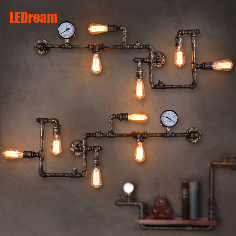 LEDream new fashion wroguht iron Water pipe wall lamp vintage aisle lights loft iron wall lamp edison incandescent light bulb