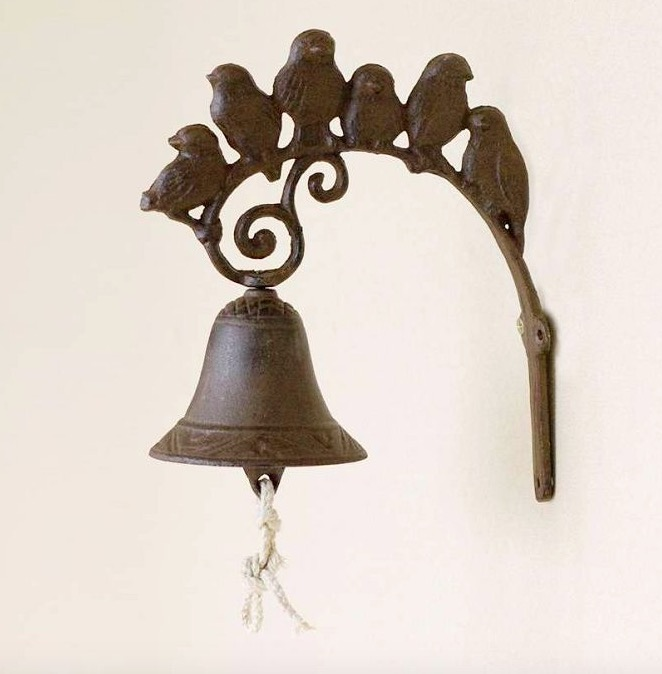 19CM Bell six iron mural retro bird garden decoration style in Figurines Miniatures from Home Garden