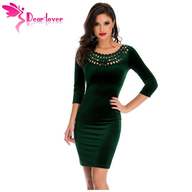 fc2244dde4e Dear Lover Office Ladies Sheath Dress Dark Green Hollow Out Round Neck  Sleeved Velvet Dress Female