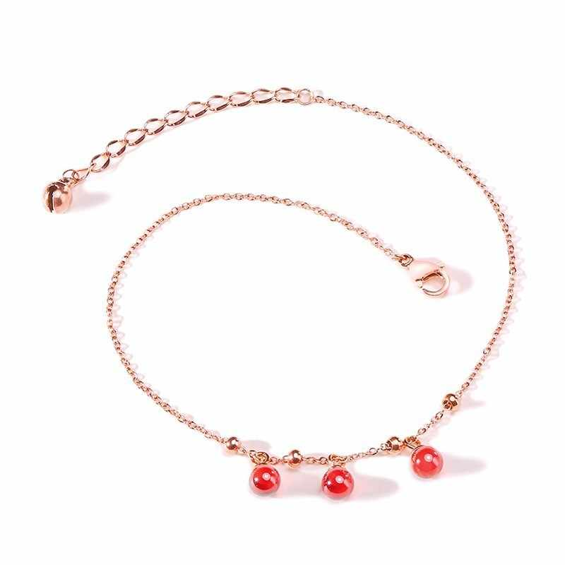 Vnox Anklets for Women Red Stone Beads Pink Gold Tone Stainless Steel Chain Foot Jewelry