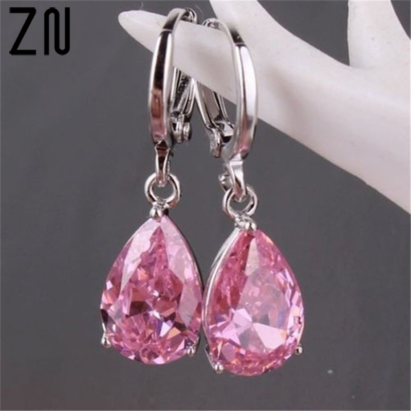 ZN 2018 Fashion Silver Drop Earring Romantic Pink Zircon Earring For Women Wedding Perfect Accessory Women's Party Jewelry