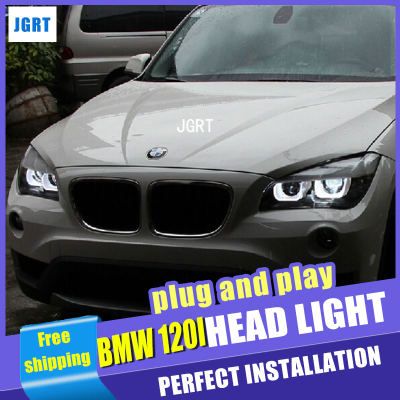 Car Styling LED Head Lamp for BMW E84 Headlight assembly X1 LED Headlight 120 125 angel eye headlight  with hid kit 2 pcs. car styling head lamp for bmw e84 x1 led headlight assembly 2009 2014 e84 led drl h7 with hid kit 2 pcs