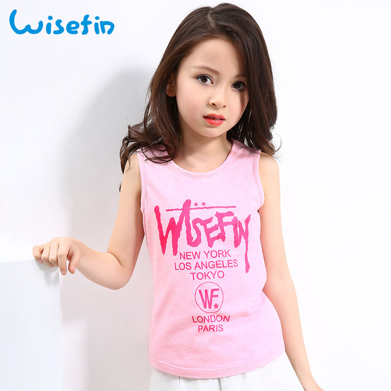 Wisefin Children Girl Tops And Tees Summer Kids Tops For Girls Sleeveless 4Colors Girl T Shirt Children Fashion Baby Tshirt 2018