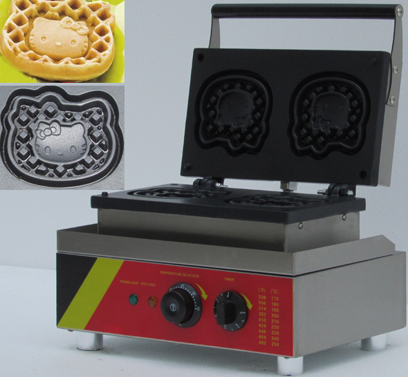 Nuovo disegno 110 v 220 v elettrico Commecial Ciao kitty animial waffle maker, macchina per fare le cialde