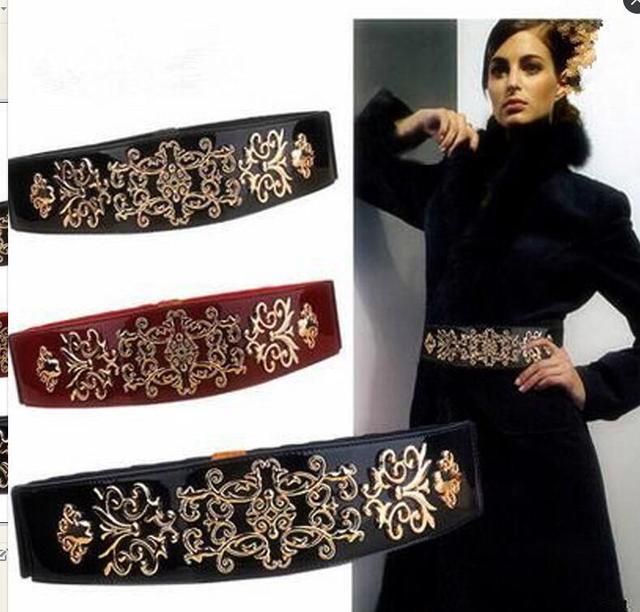 Новый выдалбливают MS цветы металлические пряжки ремня декоративные эластичный ремешок кожаный старинные супер широкий эластичный пояс пояс для женщин