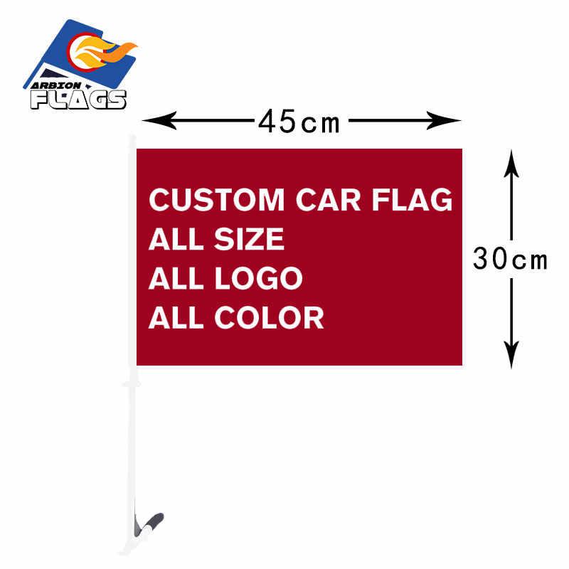 Custom Car Bandeira 30X45cm Impressão lateral Dobro do Poliéster Voando Bandeiras E Banners com 50 centímetros de Plástico Decorativo pólo de bandeira Venda Quente