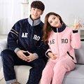 Amantes da moda de Inverno Casal Pijama Define Mulheres Sleepwear Ternos de Flanela Quente de Espessura de Veludo dos homens de Salão Em Casa
