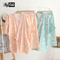 New 2017 summer 100% cotton simple japanese pajamas women short sleeves bowknot double gauze casual kimono sets for women