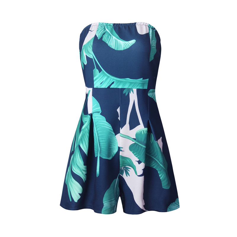 5f7c8be111b8 Pofunuo Women print jumpsuit rompers 2017 Sexy strapless green white summer  playsuit Casual short bodysuit overalls beach wear-in Rompers from Women s  ...