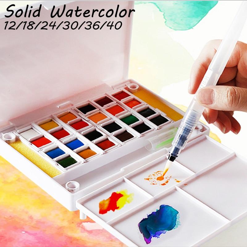 Superior 12 24 30 36 40colors Pigment Solid Watercolor Paints Set Colored Pencils for Drawing Paint Watercolors Art StationarySuperior 12 24 30 36 40colors Pigment Solid Watercolor Paints Set Colored Pencils for Drawing Paint Watercolors Art Stationary
