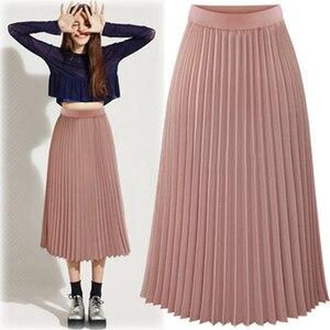 Image 2 - ARiby Women Long Pleated Skirt faldas mujer moda 2019 New Summer Chiffon Sweet Solid Pleated Skirt Elastic Waist Empire Skirt