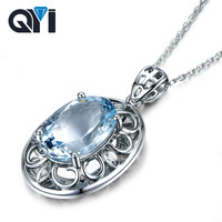 QYI 1.5 ct Oval cut Natural sky Blue Topaz Gemstone Pendants 925 Sterling Silver Necklaces For Women Color Gems Wedding gift