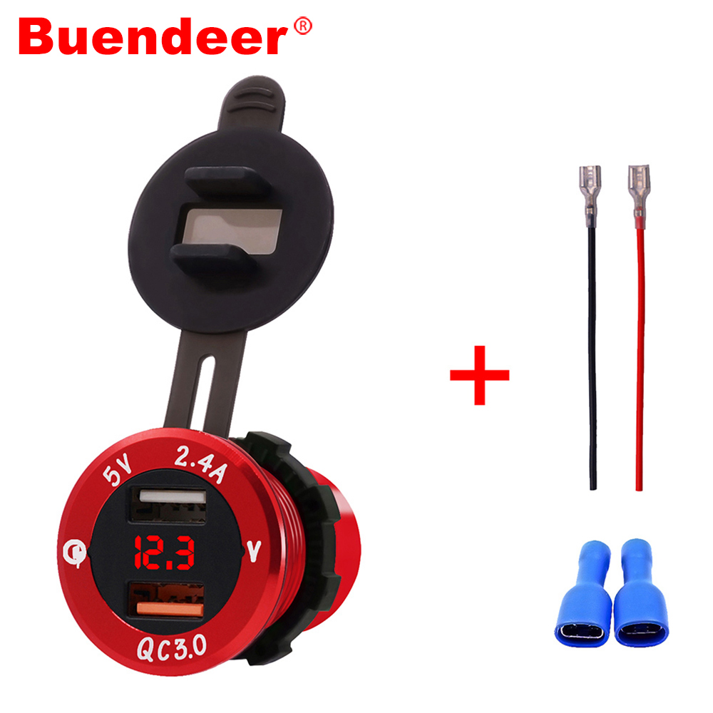 Buendeer Car-Cigarette-Lighter Indicator Voltmeter Power-Adapter Dual-Usb-Charger QC