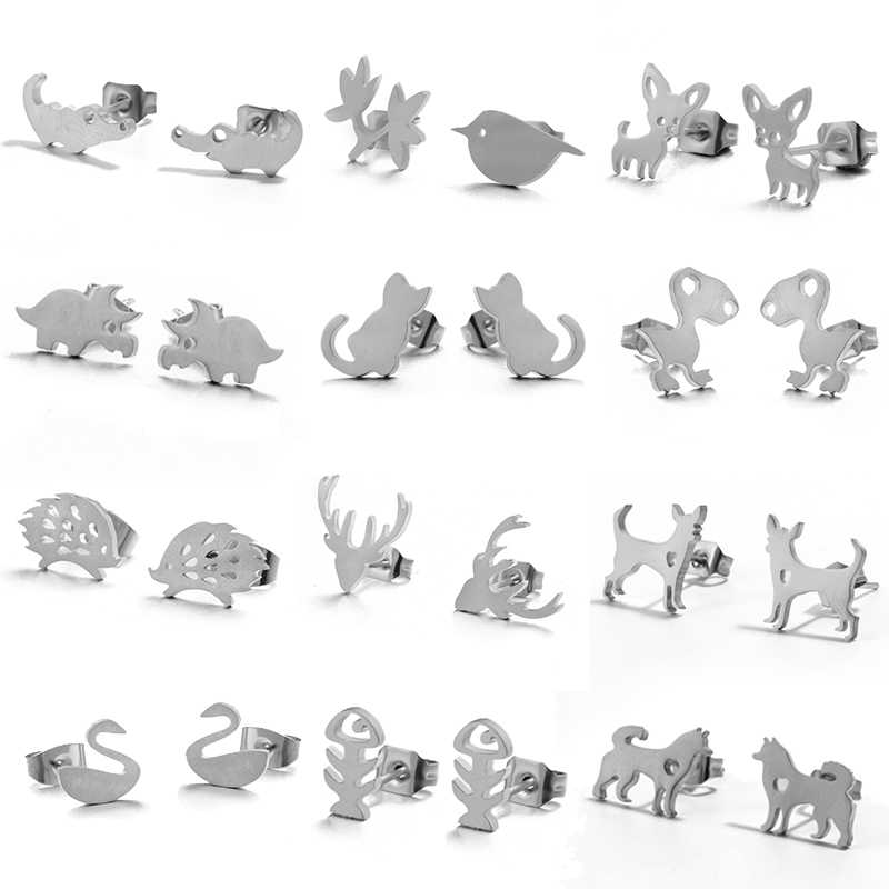 متعددة الحد الأدنى وأقراط للنساء الإناث الفولاذ المقاوم للصدأ الحيوانات لطيف أقراط مجوهرات القرنفل اكسسوارات