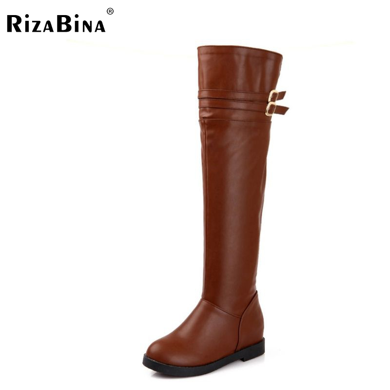 ФОТО ladies flat over knee boots riding women snow long botas warm winter boot fashion buckle footwear shoes P20409 size 34-40