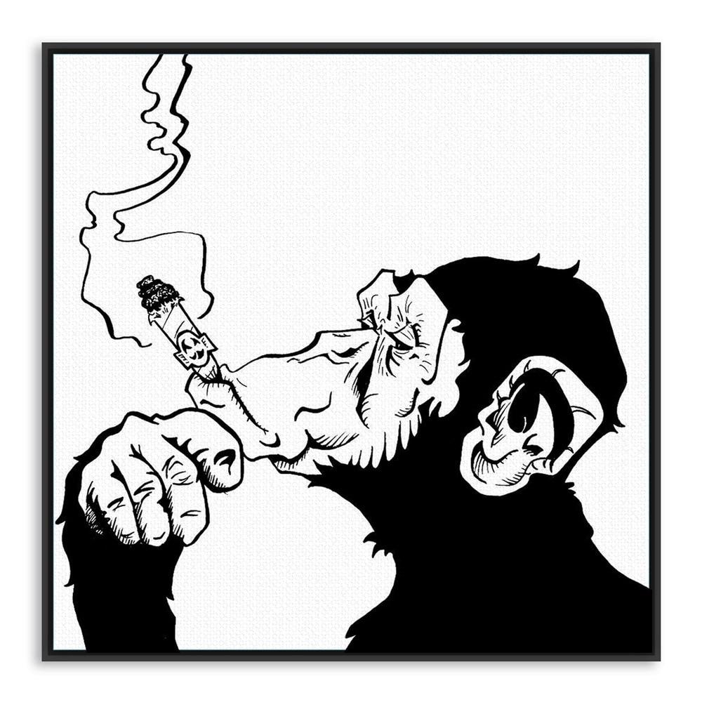 Gambar Fashion Black White Smoking Gorilla Animal A4 Art Prints