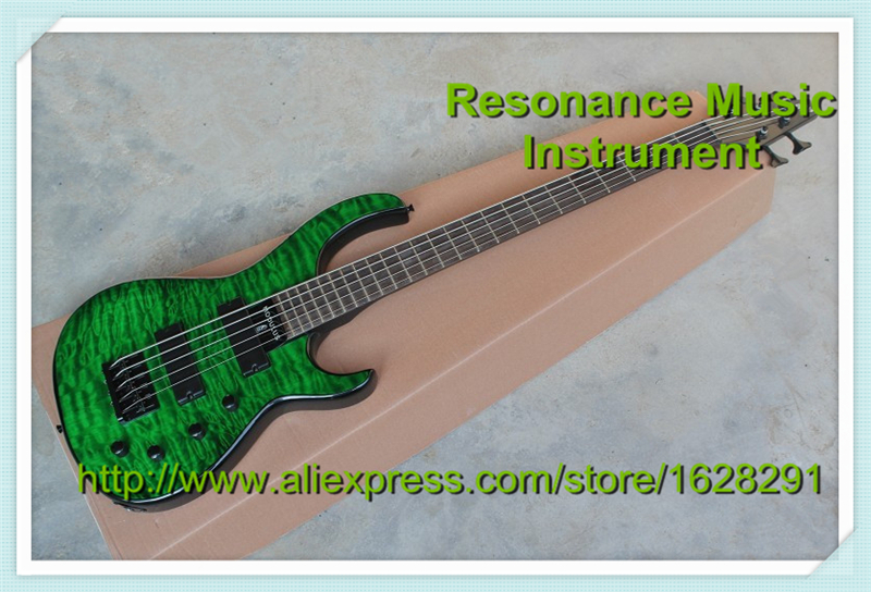 Custom Shop Emerald Green Quilted Top Guitar Body DIY 5 String Electric Bass Guitar China Left Handed Custom Available china electric guitar firehawk oem shop wholesale custom shop electric guitar rotting wood grain