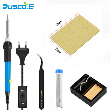 60W Adjustable Temperature Soldering Iron 220V 110V Electric Solder Iron Rework Station 5pcs Tips Tweezer Welding Repair Tools 35w 220v temperature electric soldering iron welding solder rework station heat tips repair dual power wire tool us plug cable