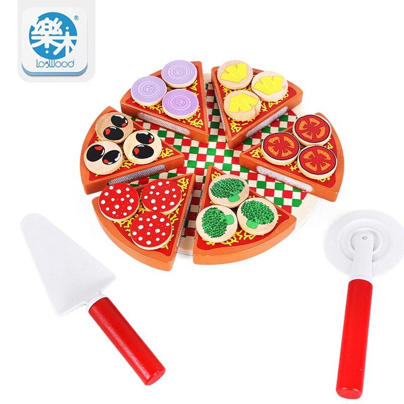 Arrial Bambini Giocattoli Pizza Cibo Pretend Gioca Cucina Gioco Montessori Legno Tagliato Learning Educational Building blocks oyuncak