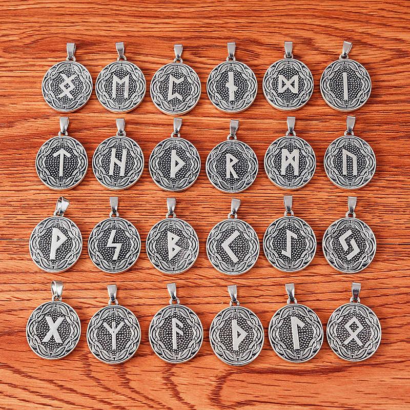 Runic お守りオーバルチャームネックレスファインディング北欧バイキング 24 ルーンコレクション両面チャームペンダント