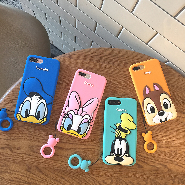 For iphone 7 7Plus Cartoon Daisy Donald Case, Cute Soft minnie Case For iphone X 8 8plus 6 6s 6splus Cartoon fundas with Ring
