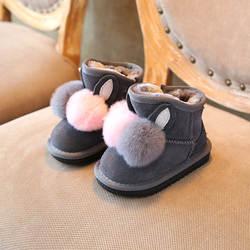 -5 зима детские зимние сапоги Плюшевые Теплые для маленьких обувь мех кролика милые девушки хлопковые сапоги из натуральной кожи обувь для