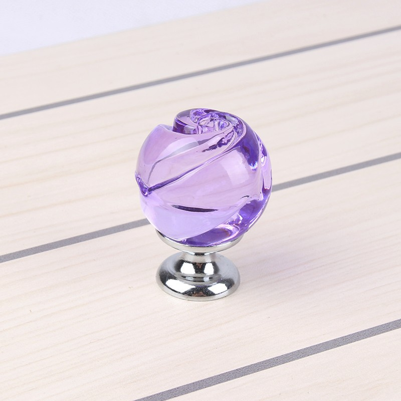 MEGAIRON Romantic Rose Crystal Bedroom Door Single Hole Knob Cabinet Cupboard Drawer Pull Handles Furniture Accessories