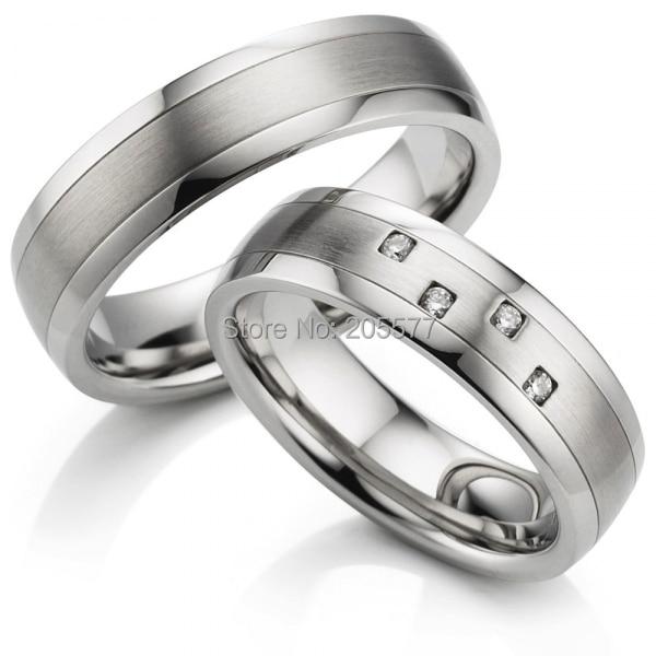 Bagues de mariage en acier inoxydable titane chirurgical couleur or blanc pour hommes et femmes
