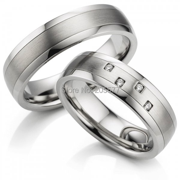 Mens And Womens White Gold Color Surgical Anium Stainless Steel Wedding Bands S Rings Engagement