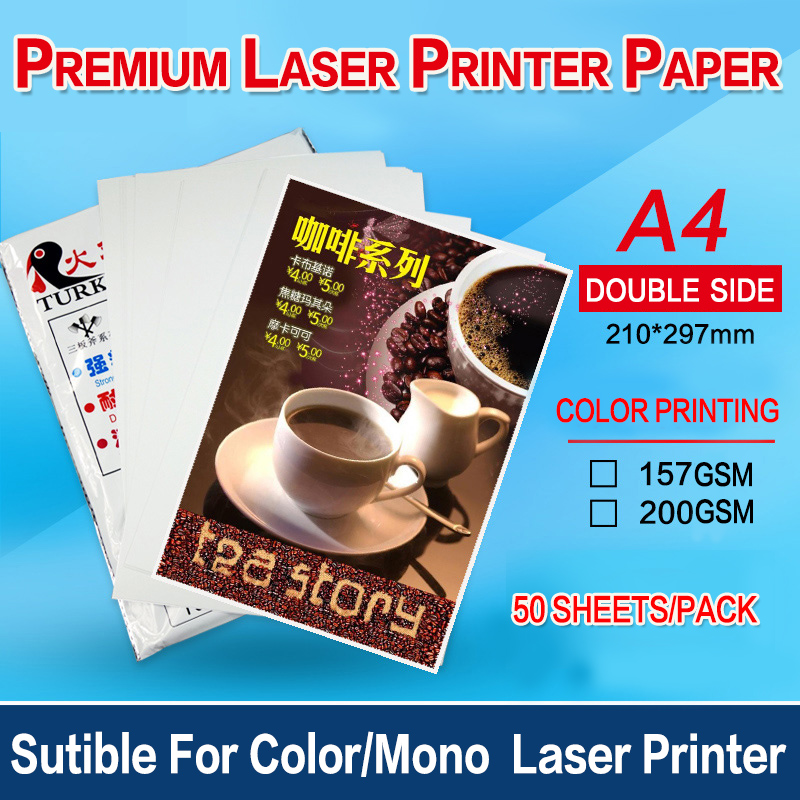50sheets A4 Semi Glossy  Double Side Menu Printing Thick Paper 157g Or  200g  For Mono Laser Printer/color Laser Printer